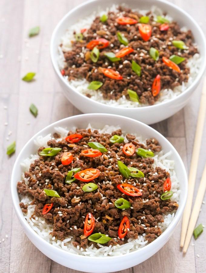 Easy Korean Ground Beef and Rice   Recipe at EverydayEasyEats.com