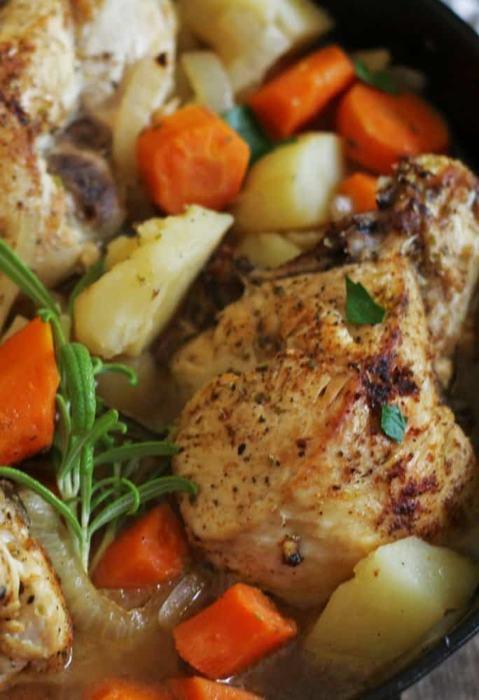 Easy one pan chicken with potatoes and vegetables