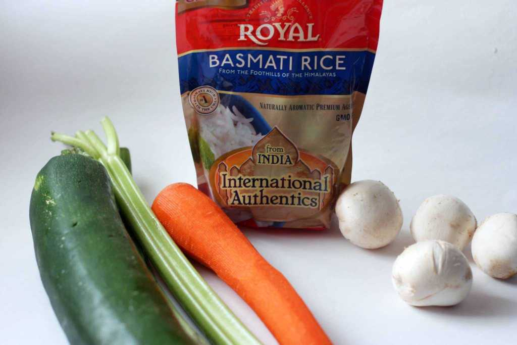 Coconut curry rice vegetables ingredients