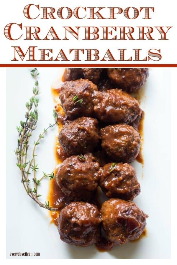 Delicious cranberry meatballs on a white platter