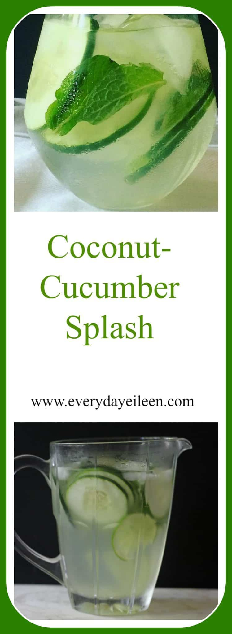 coconut cucumber splash , a refreshing non-alcohol drink made with coconut water, mint, agave, cucumbers.