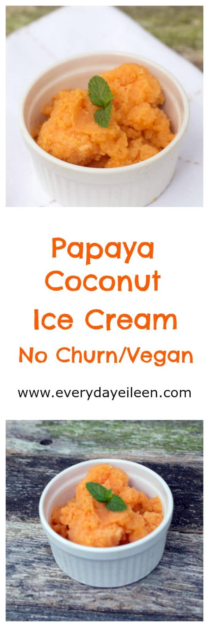 papaya coconut no churn vegan ice cream