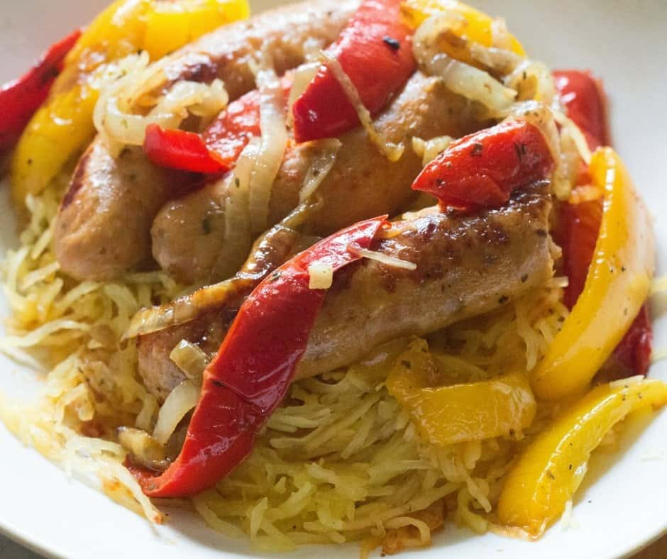 Sheet Pan Chicken Sausage, Peppers and Onion over Spaghetti Squash