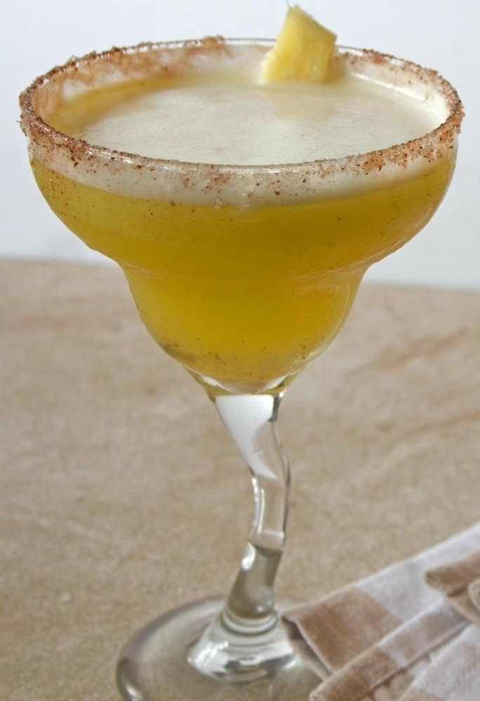 skinny pineapple mango margarita with chili salt rim