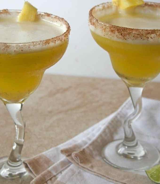 Skinny Pineapple Mango Frozen Margarita with Chili Salt Rim
