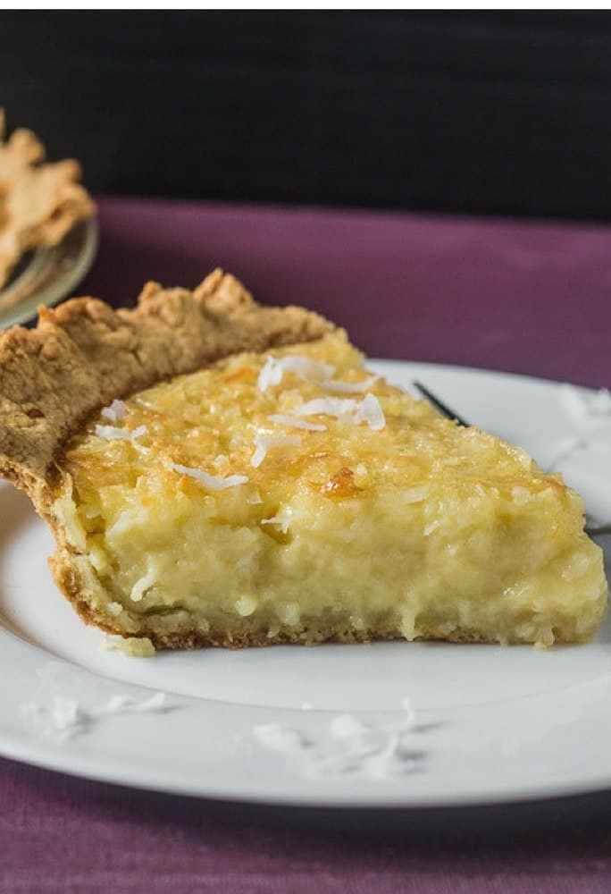 a delicious slice of homemade coconut cream pie