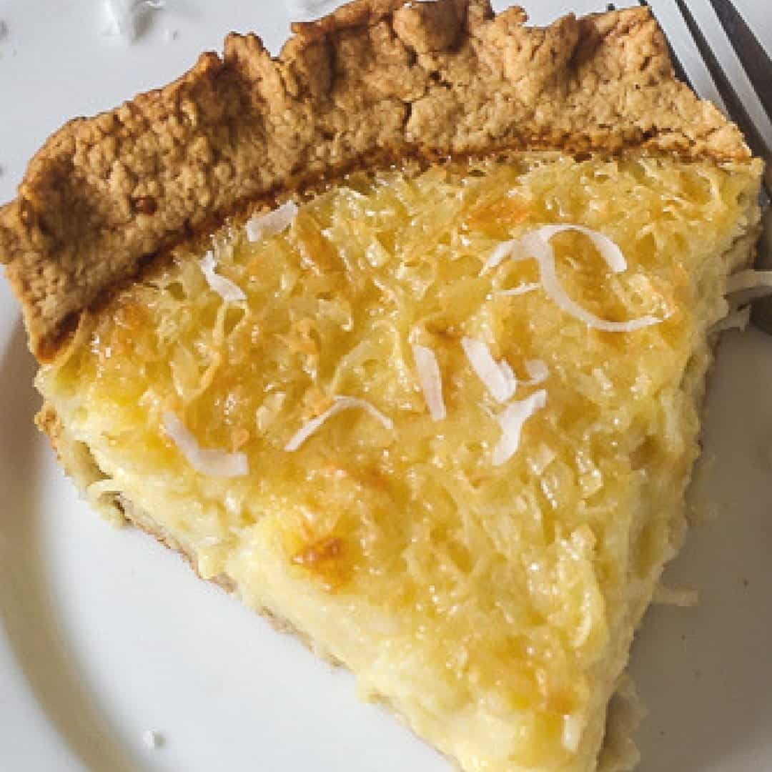 delicious slice of old fashioned coconut custard pie