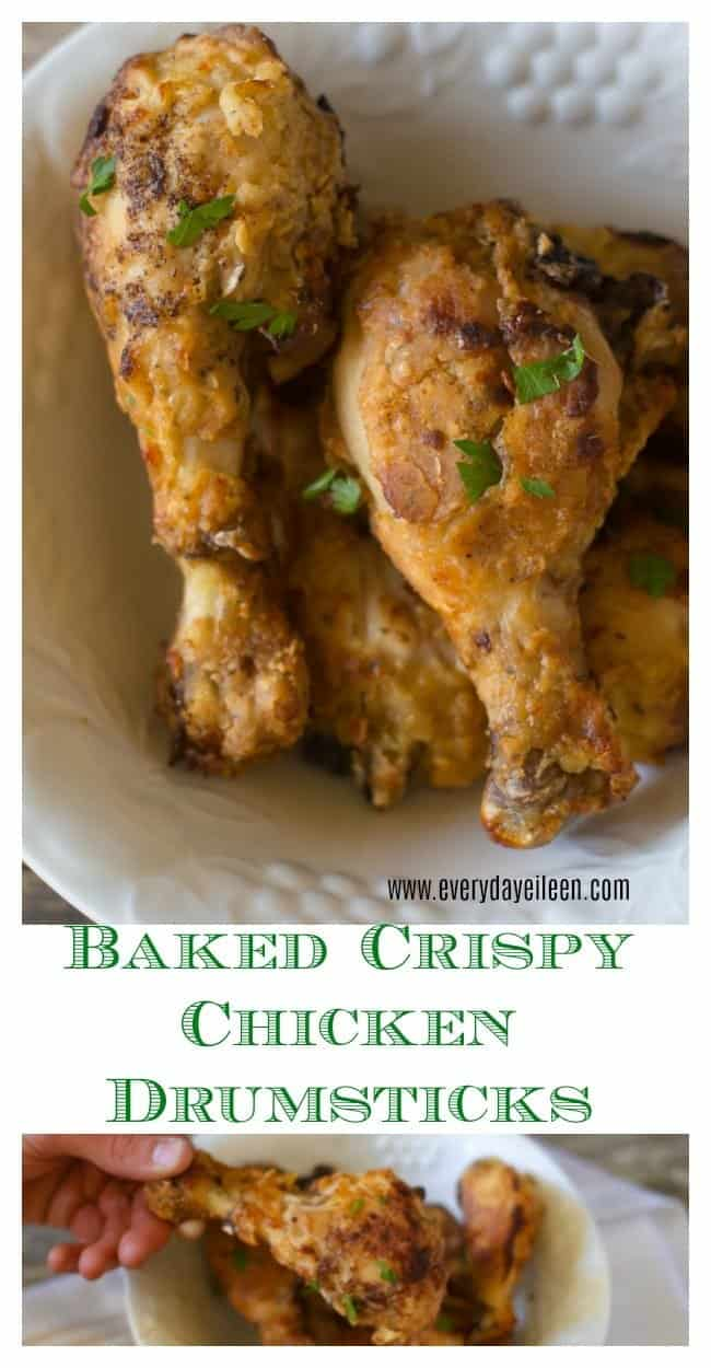 A collage of baked crispy chicken drumsticks in a bowl and also of a single drumstick being held with a baked flour coating