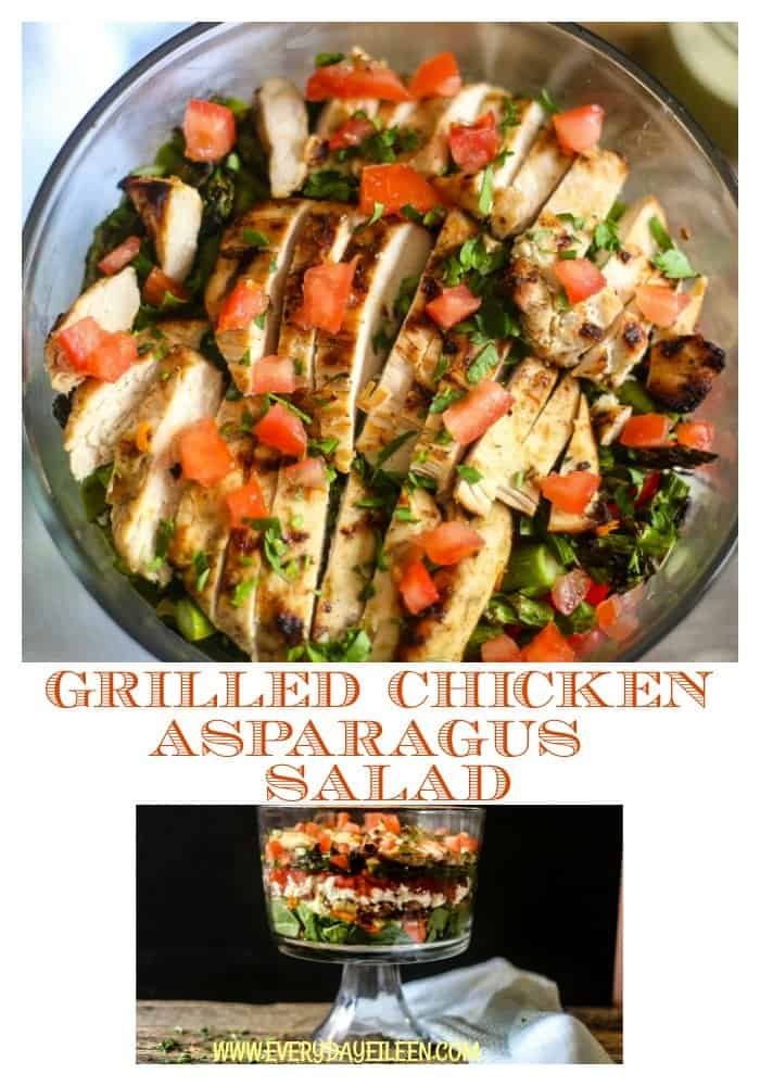 A collage of grilled chicken asparagus salad with the chicken sliced and topped with diced tomatoes and chopped parsley
