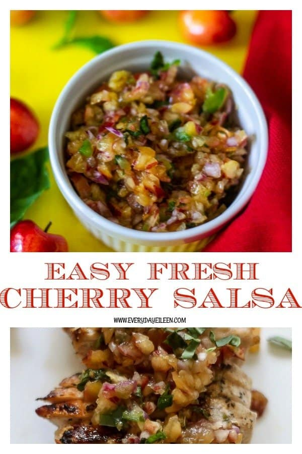A collage of fresh cherry salsa in a white bowl with cherries, jalapanos and herbs.