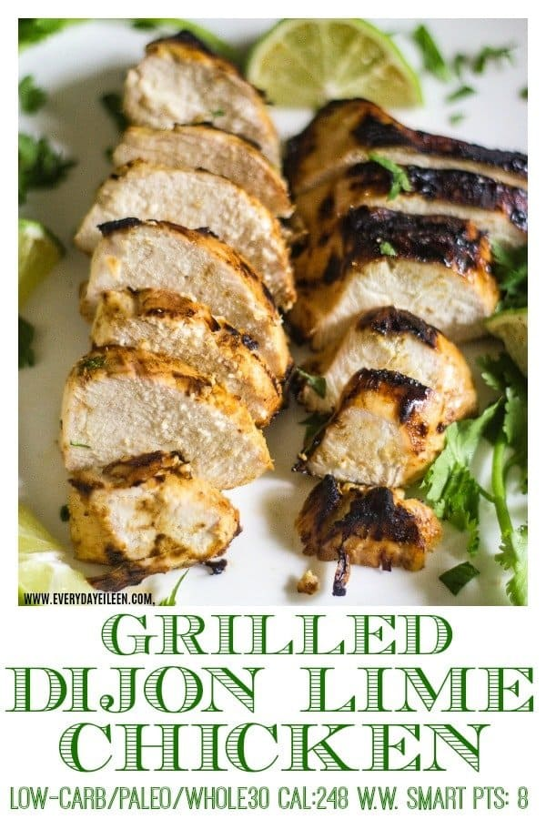 A photo of Grilled Dijon lime chicken on a serving platter waiting to be eaten at a BBQ.