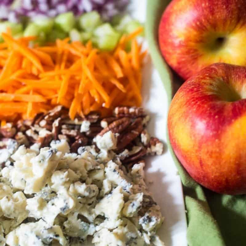 Shredded carrots, celery, pecans, blue cheese, and apples on a plate ready to top an apple pecan salad