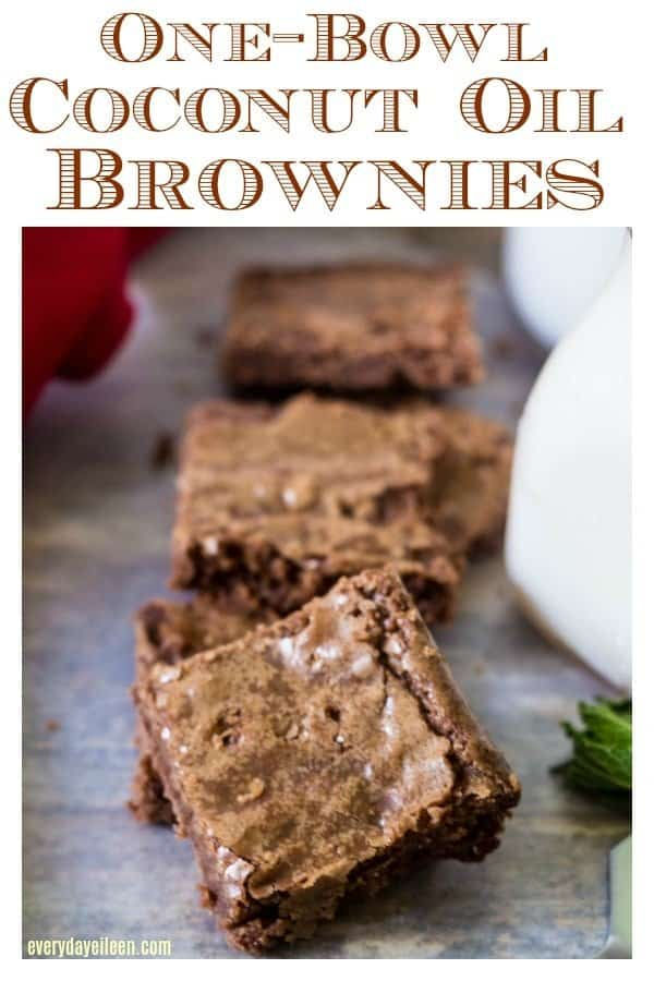 Pinterest ready photo of coconut oil brownies