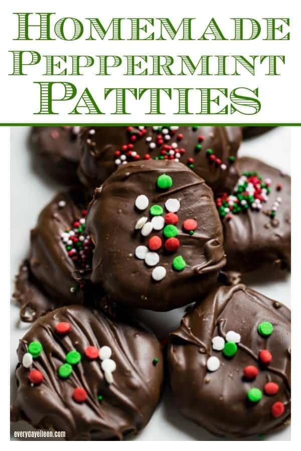 homemade peppermint patties decorated with Holiday red and green sprinkles on a white plate