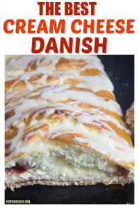 Cream cheese danish with raspberry and cream cheese filling sliced open