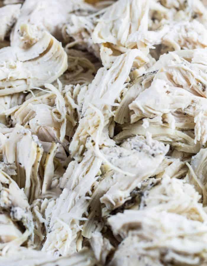 Instant Pot Shredded Chicken, used for so many recipes including quesadillas, tacos, buffalo dip.