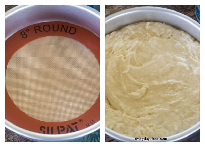 A collage, one photo - an 8-inch round cake pan lined with a Silpat mat. second photo of the 8-inch round pan filled with the lemon yogurt cake batter.
