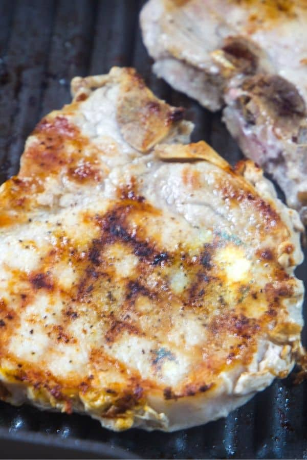 Mexican seasoned pork chops on the grill
