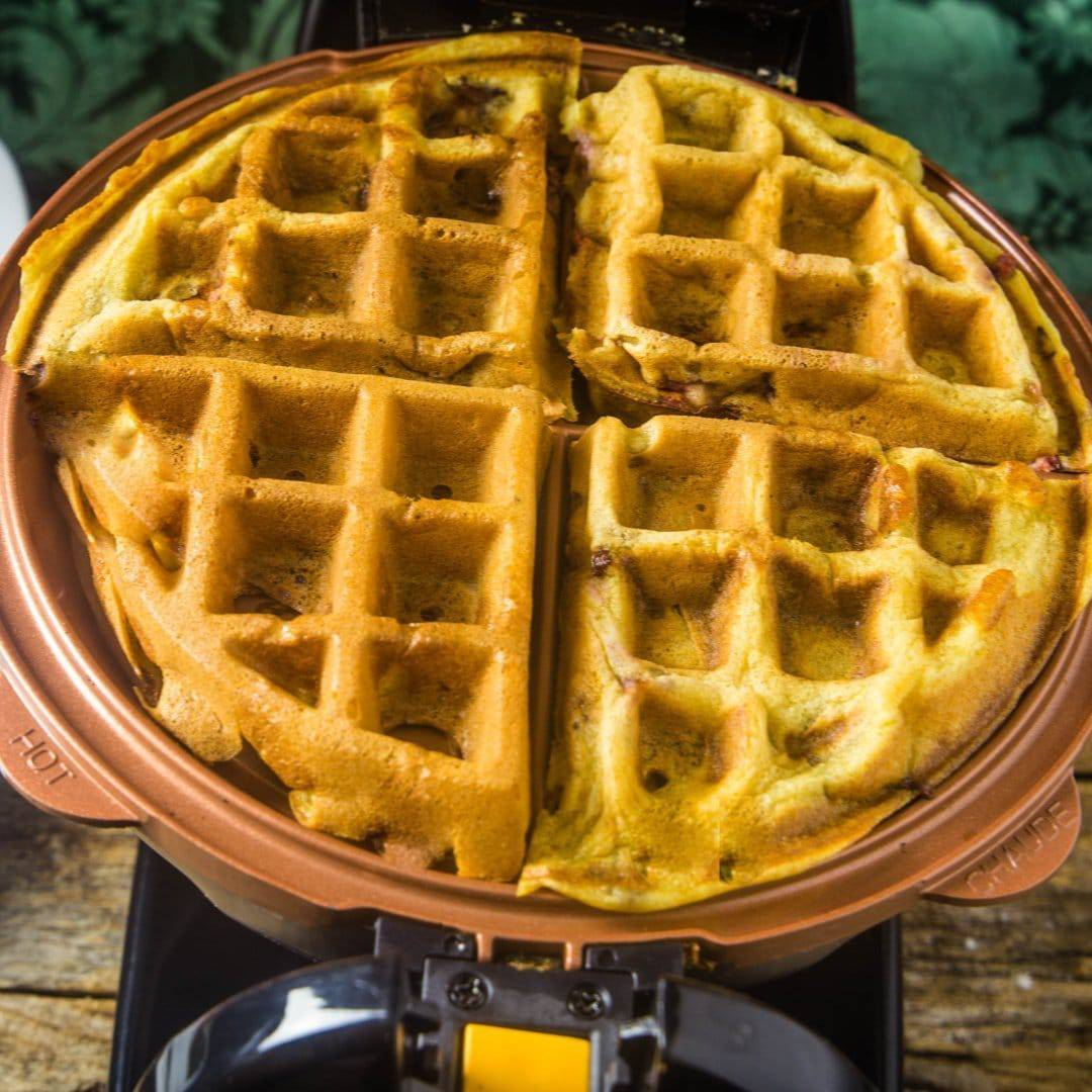 Waffles being made in the Hamilton Beach waffle maker.