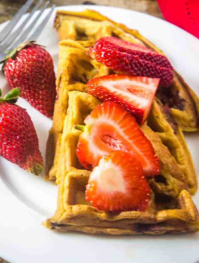 The Best Strawberry Waffles