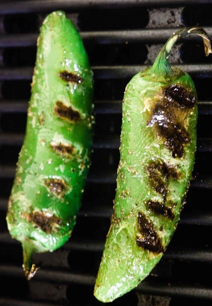 jalapenos being grilled for jalapeno popper dip