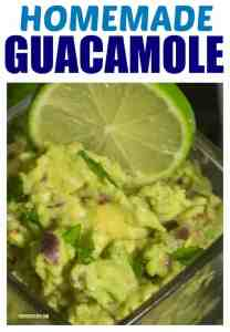 Homemade guacamole made with fresh limes in a glass bowl.