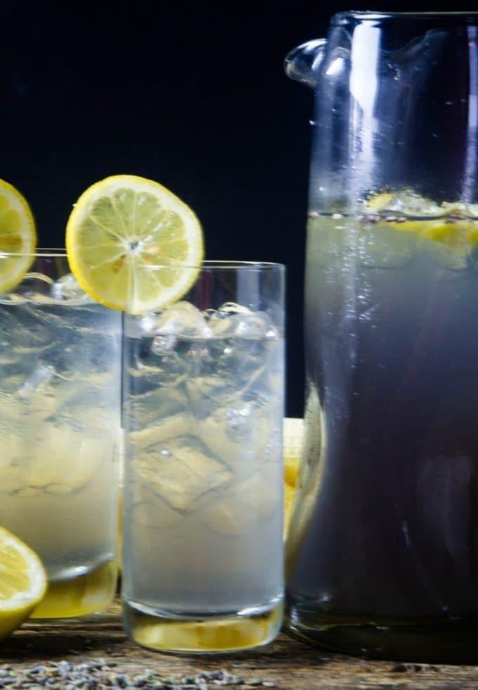 lavender lemonade in joy jolt glasses