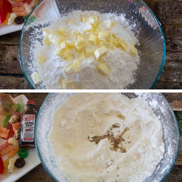 Pictorial of the process of making vanilla frosting