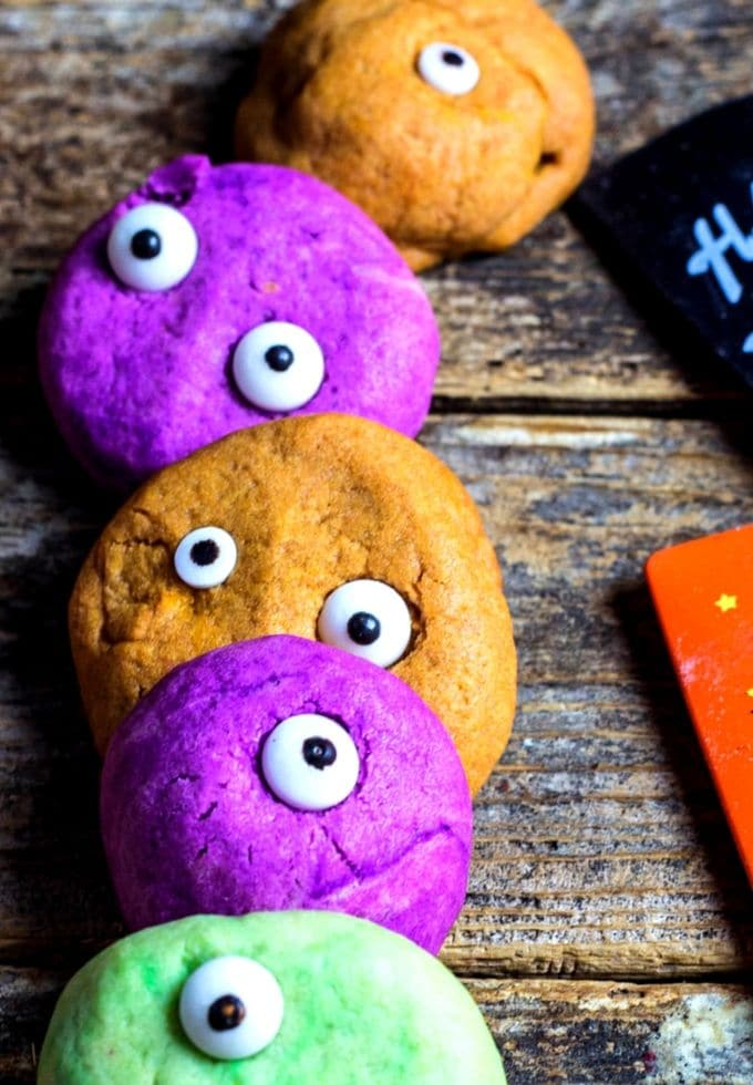 Colorful Halloween cookies with monster eyes