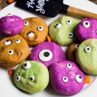 Monster Eye cookies on a white plate