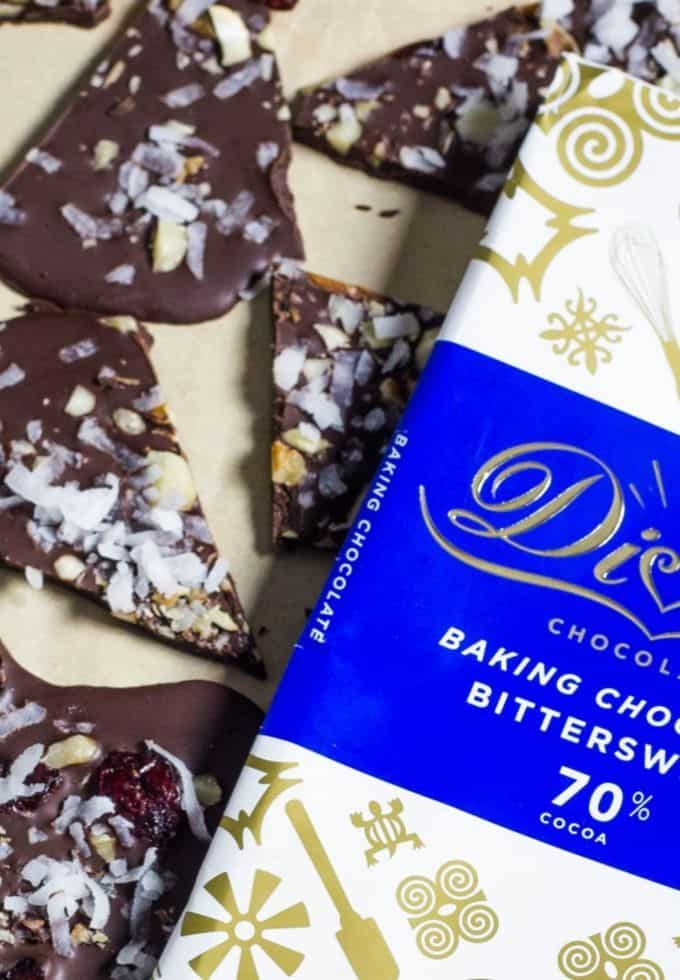 Devine chocolate and chocolate bark on parchment paper
