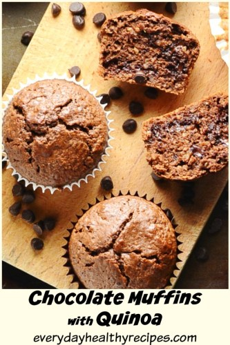 Top down view of protein chocolate muffins with chocolate chips on wooden board.