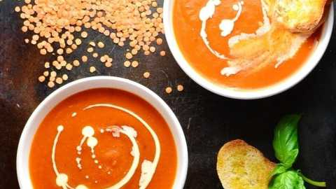 Tomato and Lentil Soup with Sweet Potato