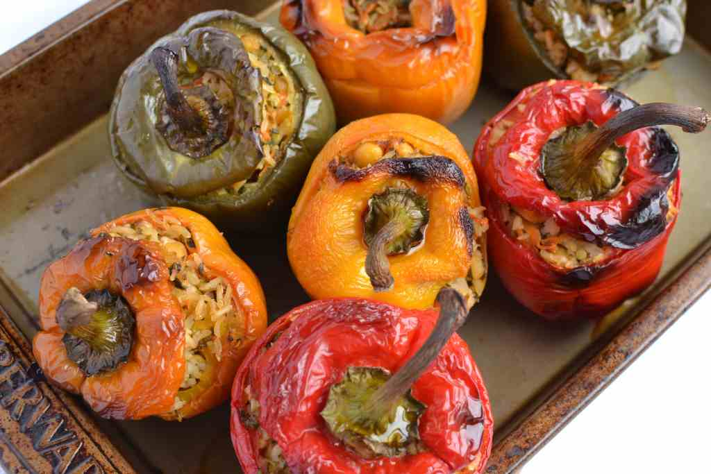 Stuffed Peppers with Chickpeas and Brown Rice