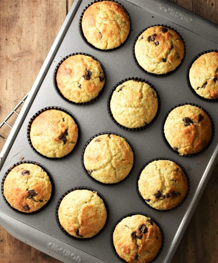 Lime muffins with chocolate chips in 12-hole muffin pan.