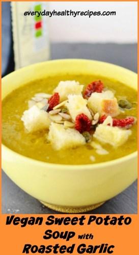 5-Minute Roasted Sweet Potato Garlic Soup Recipe (Vegan)