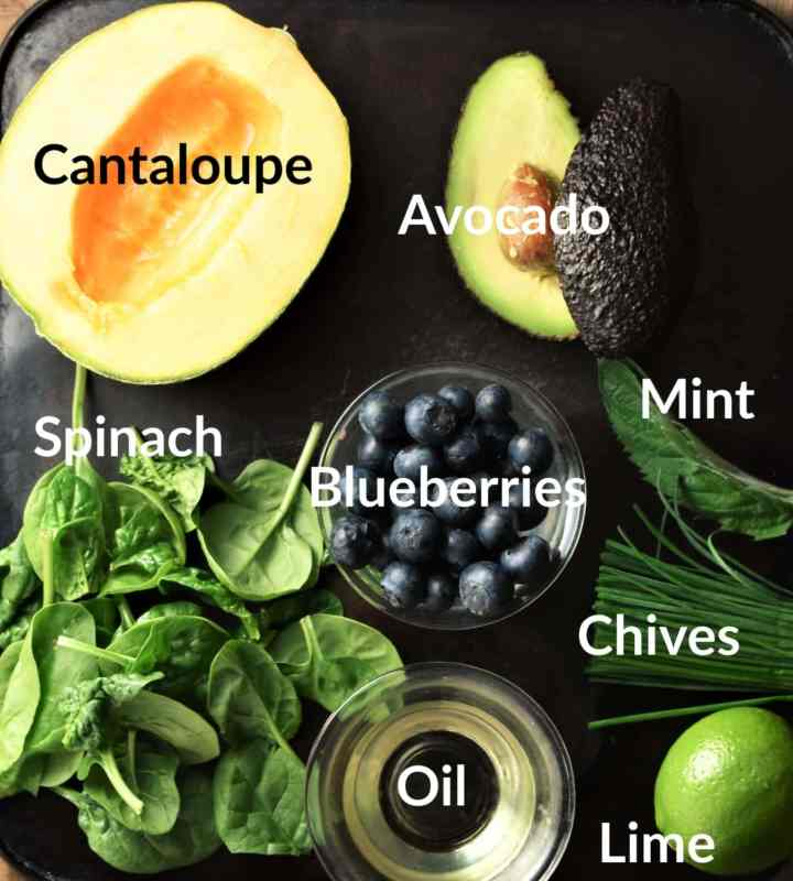 Cantaloupe salad ingredients in individual dishes.