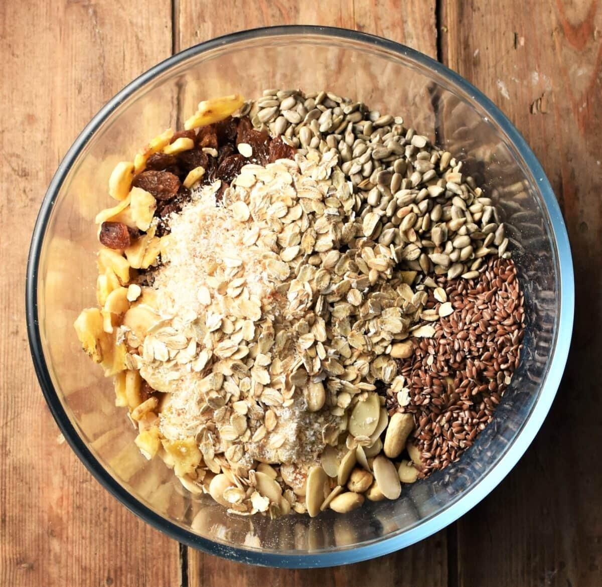 Muesli ingredients in mixing bowl.