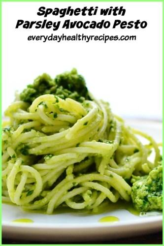 Spaghetti with Parsley Avocado Pesto