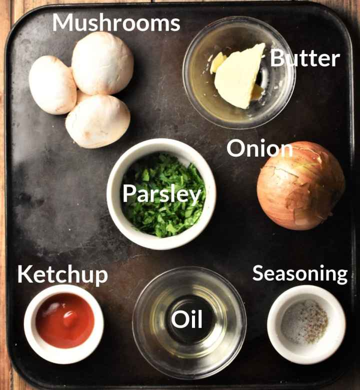 Ingredients for making mushroom crepes filling in individual dishes.