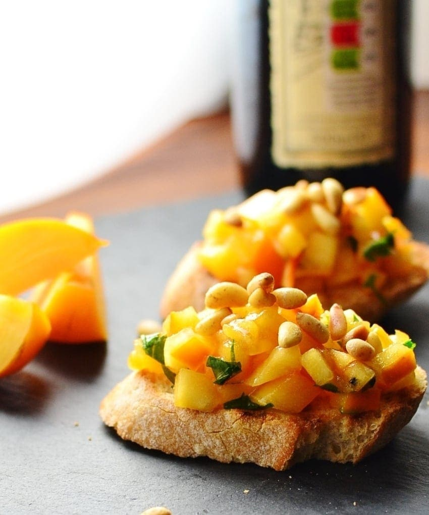 Persimmon Bruschetta Appetizer Recipe