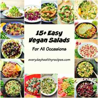 Collage of 16 easy vegan salads in different coloured bowls.