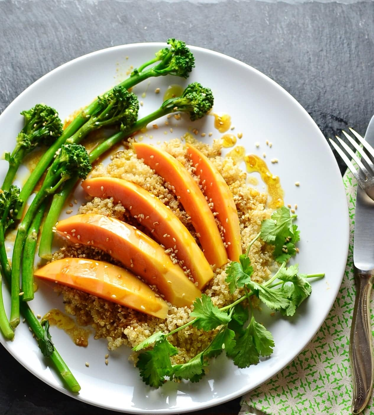 Papaya Tenderstem Broccoli Quinoa Bowl