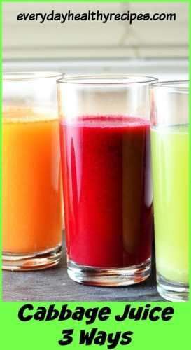 Cabbage juice in three glasses, green, red and orange.