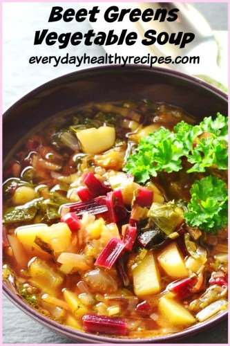 Beet Greens Vegetable Soup is a refreshing and nutritious vegan lunch idea, perfect to enjoy in spring. #beets #vegansoup #vegetablesoup #polishrecipes