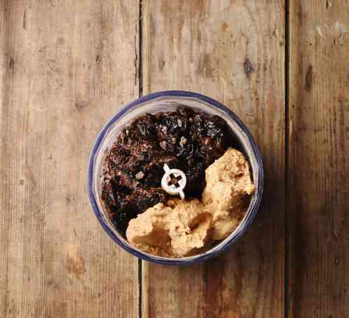 Prune mixture and peanut butter in small blender.