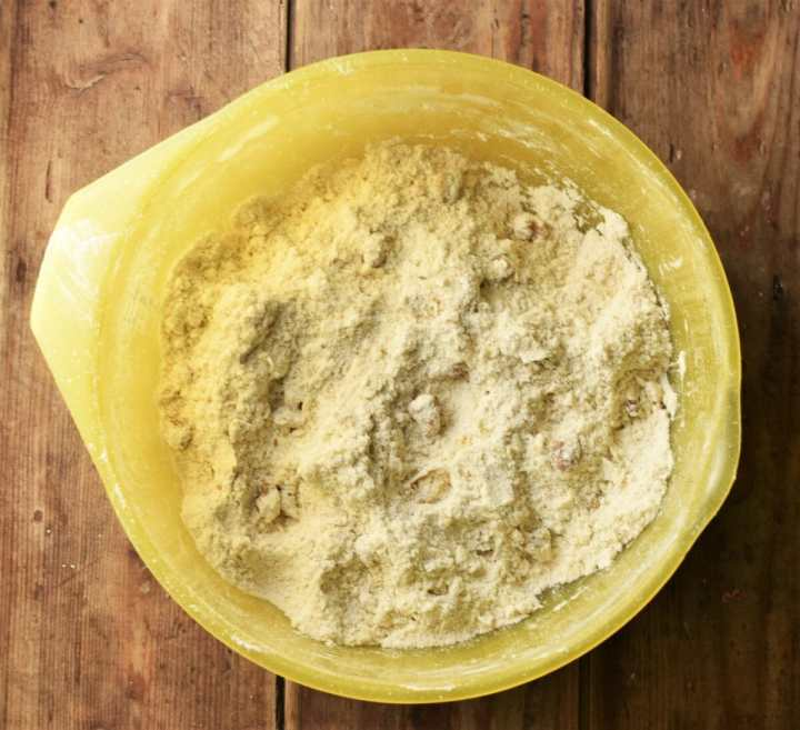 Flour mixture in large yellow bowl.