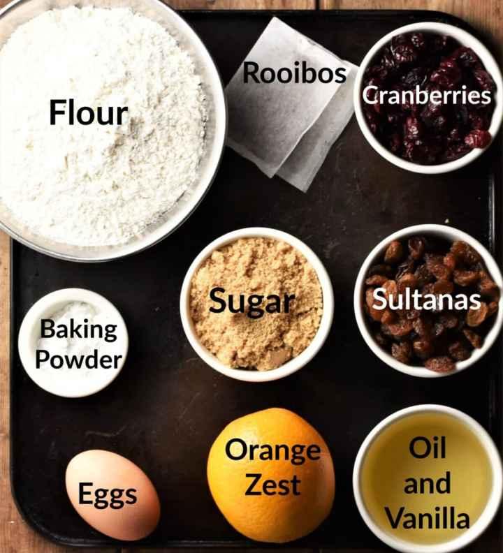 Tea cake ingredients in individual dishes.