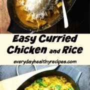 2 images showing curried chicken and rice with peas in shallow oval black pans.