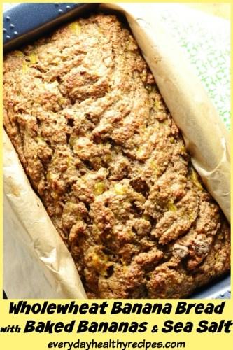 Easy Whole Wheat Baked Banana Bread with Sea Salt